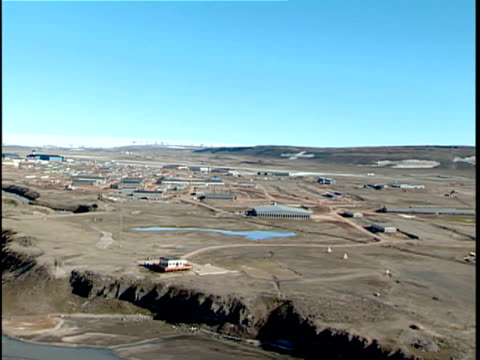 aerial thule air base, greenland - military base stock videos & royalty-free footage