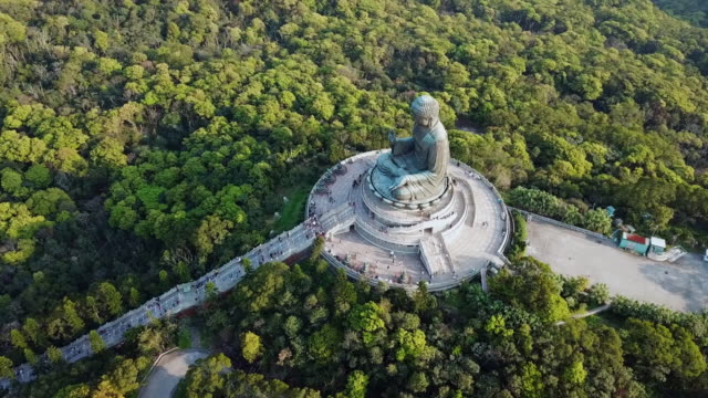 aerial: tian tan buddha statue in the middle of a forest of trees - tian tan buddha stock videos and b-roll footage