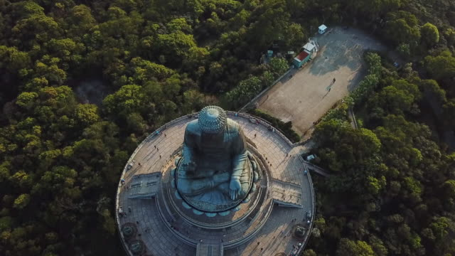 aerial tilt down shot of tourists at famous buddha monument amidst trees, drone flying forward over statue - hong kong, china - buddha stock videos & royalty-free footage
