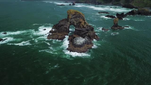 vídeos de stock e filmes b-roll de aerial tilt up: rare rock formation in the coastline of cannon beach - vista inclinada