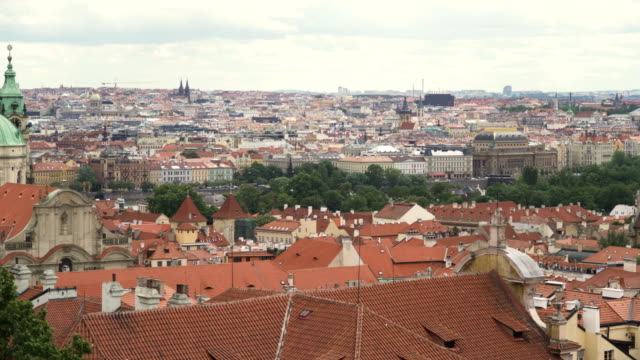 aerial tilt view: old prague city view from mountain - traditionally czech stock videos & royalty-free footage