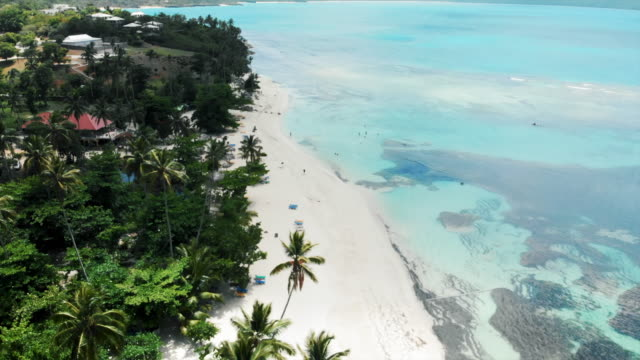 aerial tilt-up: stunning tropical beach with mountains in the distance - sunbed stock videos & royalty-free footage