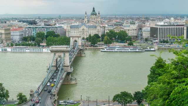 aerial time lapse, crowd and vehicle crossing chain bridge, budapest - 14th century bc stock videos & royalty-free footage