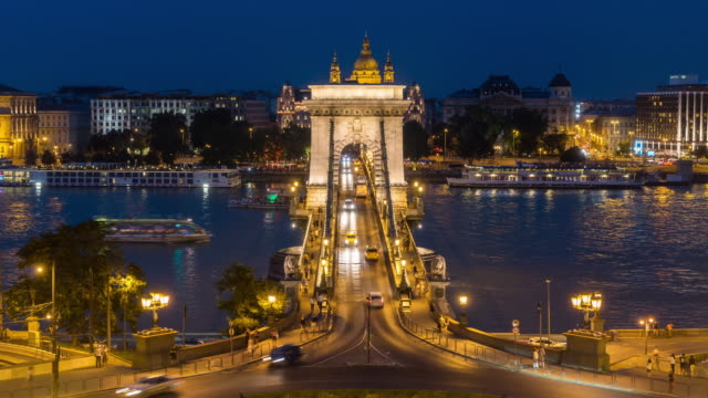 Aerial Time Lapse of Crowd walking at Chain Bridge, Budapest