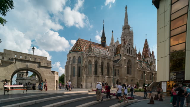Aerial Time Lapse of Crowd walking at Fisherman Bastion, Budapest