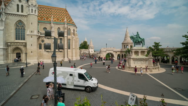 aerial time lapse of crowd walking at matthias church, budapest - 14th century bc stock videos & royalty-free footage