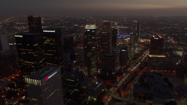Aerial time lapse of downtown Los Angeles at night.
