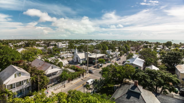 stockvideo's en b-roll-footage met aerial time lapse of key west's skyline cityscape. usa, florida - the florida keys