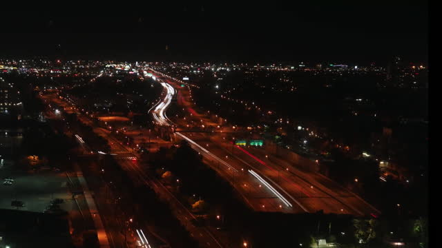 aerial time lapse of philadelphia at night - light trail stock videos & royalty-free footage