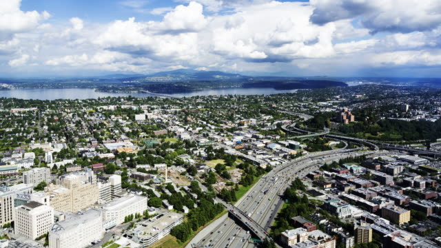 aerial time lapse of southeastern seattle from the columbia center sky view observatory - columbia center stock videos and b-roll footage