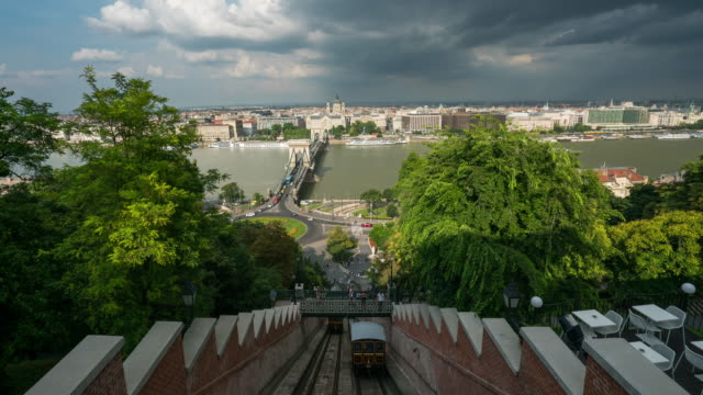 aerial time lapse of vehicle at chain bridge, budapest - 14th century bc stock videos & royalty-free footage
