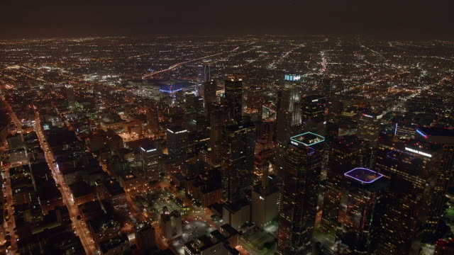 Aerial time lapse over downtown Los Angeles at night.