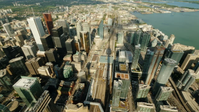 aerial time lapse shot of toronto city center – wide shot - high up stock videos & royalty-free footage