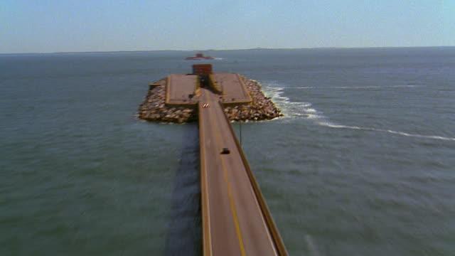 aerial time lapse traffic on chesapeake bay bridge-tunnel / norfolk, virginia - virginia beach stock videos & royalty-free footage