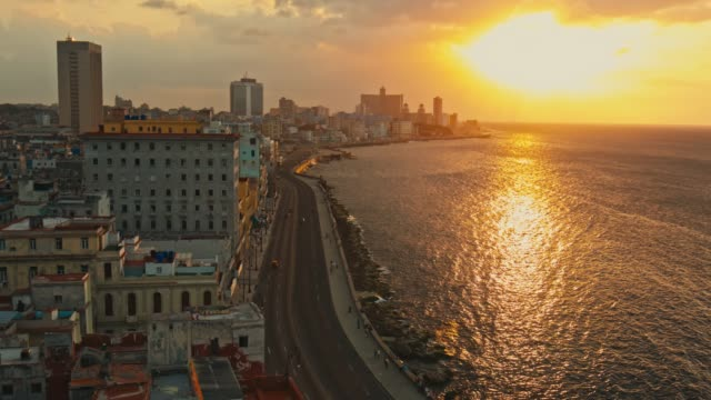 aerial time lapse video view of malecon in havana at sunset - havana stock videos & royalty-free footage