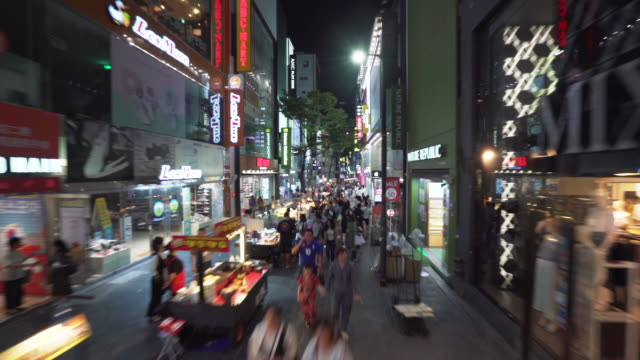 aerial timelapse, crowd of people in downtown seoul - seoul stock videos & royalty-free footage