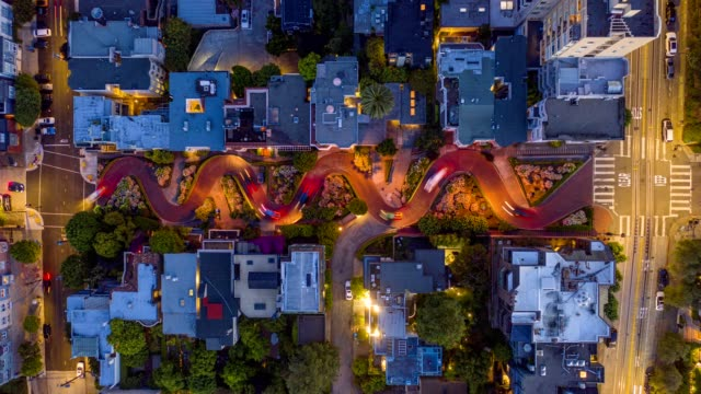 aerial timelapse lombard street traffic san francisco - northern california stock videos & royalty-free footage