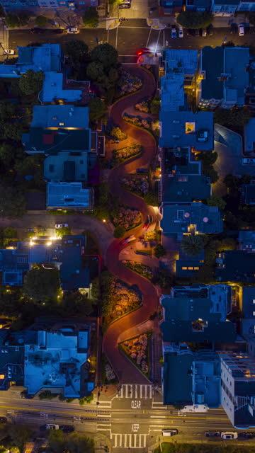 aerial timelapse lombard street traffic san francisco - lombard street san francisco stock videos & royalty-free footage