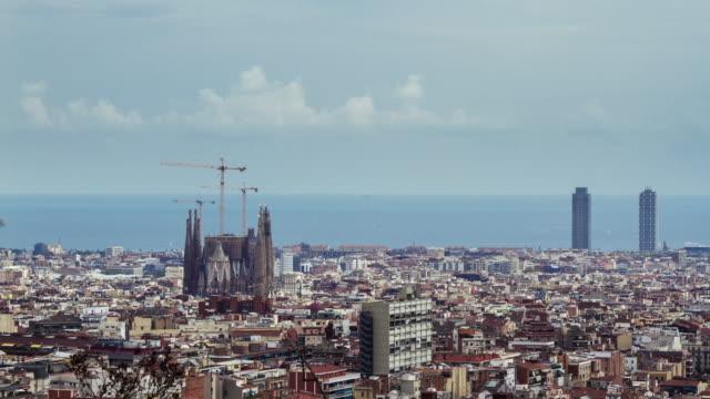 Aerial timelapse of Barcelona city, Spain.