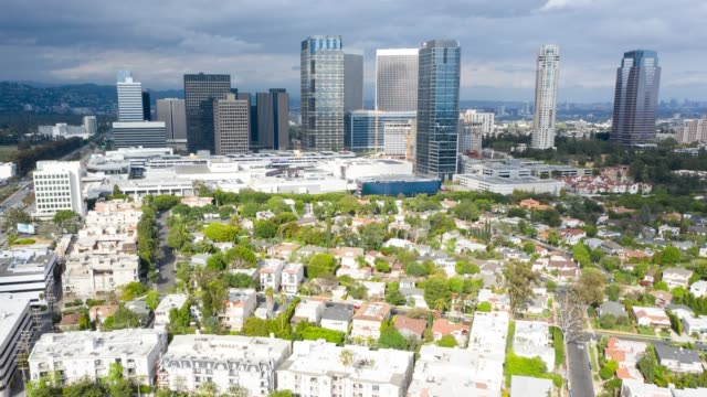 aerial timelapse of century city skyline - century city stock videos & royalty-free footage