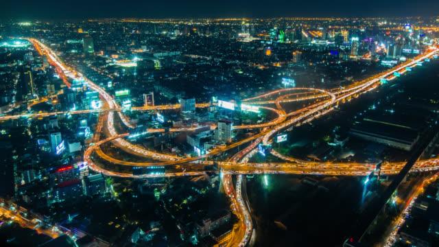 Aerial timelapse of heavy transport interchange in Bangkok, Thailand