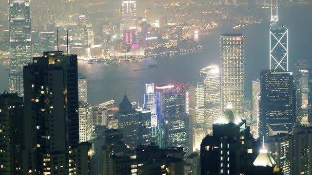 TL WS HA Aerial Timelapse of Hong Kong at night