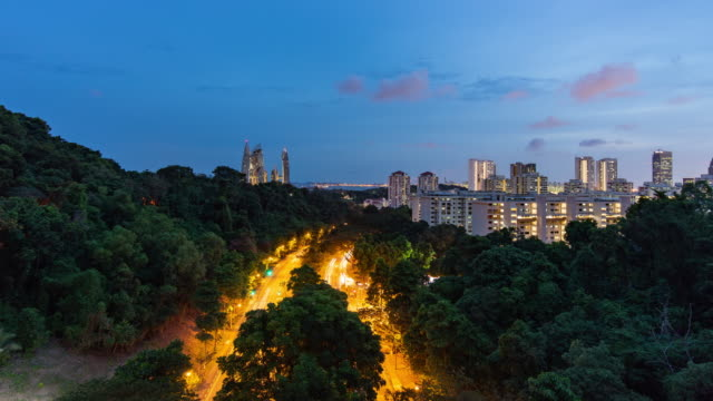 aerial time-lapse of night traffic on tree road in singapore - telecommunications equipment stock videos & royalty-free footage