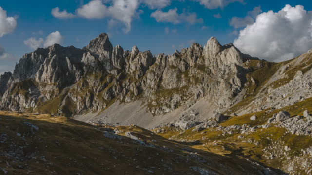 aerial timelapse of rugged mountains in durmitor national park - durmitor national park stock videos & royalty-free footage