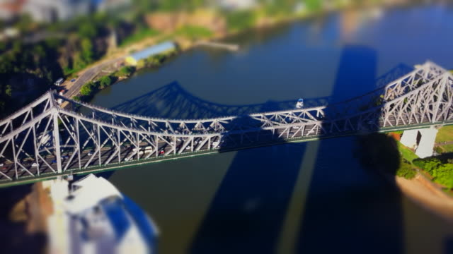 aerial timelapse of story bridge in brisbane, miniature city - tilt shift stock videos and b-roll footage