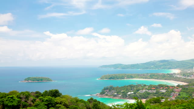 Aerial Time-lapse of  tropical Kata Beach andaman sea Phuket Thailand