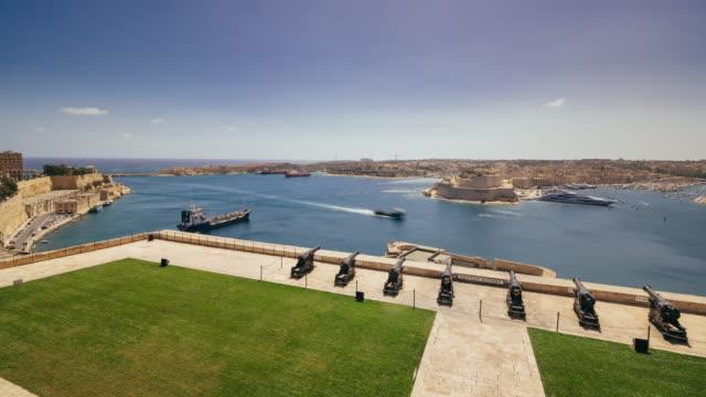 Aerial Timelapse of Valletta, Malta From Saluting  battery