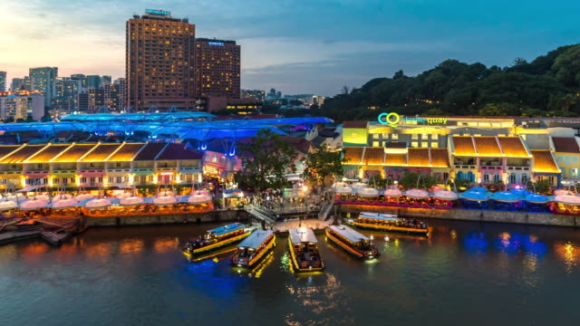 aerial time-lapse: people crowd at clark quay sunset - singapore stock videos & royalty-free footage