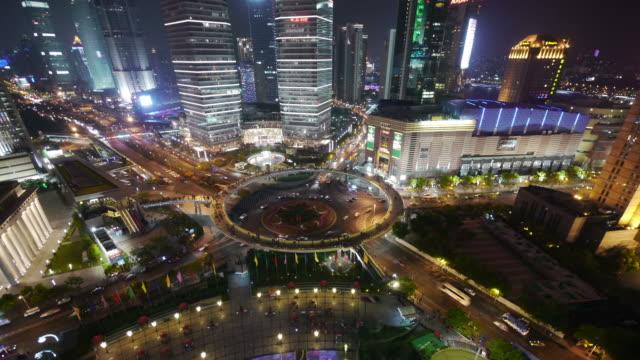 Aerial Timelapse, roundabout Pudong, night, traffic, city lights, Shanghai International Finance Centre, Shanghai, China