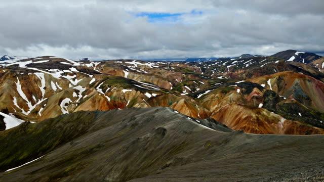 Aerial Timelapse video of Moving cloud at Landmannalaugar, Iceland