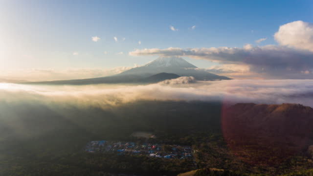 aerial timelapse:mt fuji with sunshine and cloud sky - mt fuji stock videos & royalty-free footage