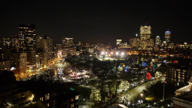 w/s aerial tl boston common christmas tree lighting ceremony. - christmas tree lighting ceremony stock videos & royalty-free footage