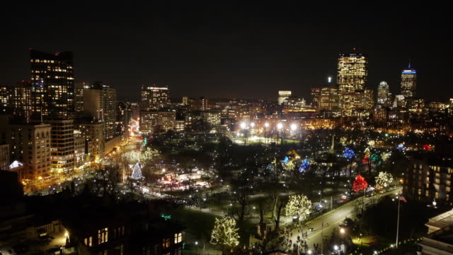 w/s aerial tl boston common christmas tree lighting ceremony. zoom out. - christmas tree lighting ceremony stock videos & royalty-free footage