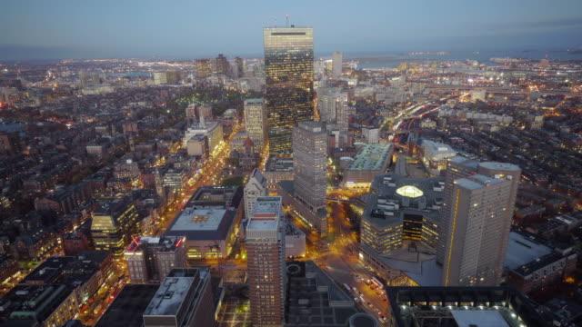 Aerial TL Day to Night Boston, USA