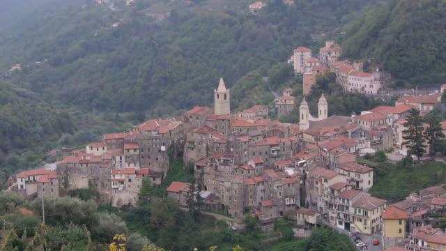 aerial tl. medieval village of ceriana, italy - spoonfilm stock-videos und b-roll-filmmaterial