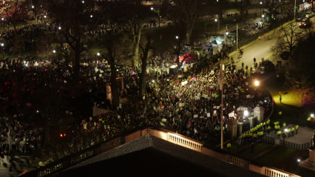 aerial tl of anti-racism demonstration in front of state house in boston - anti racism stock videos & royalty-free footage