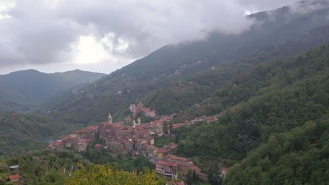 aerial tl pan. medieval village of ceriana, italy - spoonfilm stock-videos und b-roll-filmmaterial