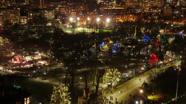 w/s aerial tl towards the end of a anti-racism demonstration in front of the state house in boston - static - christmas tree lighting ceremony stock videos & royalty-free footage