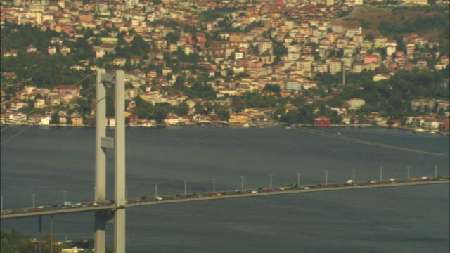 vídeos y material grabado en eventos de stock de aerial ha zi to reveal fatih sultan mehmet bridge in istanbul - estrecho de bósforo