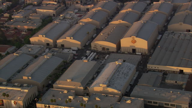 Aerial HA TS ZI to ECU Warner Bros Studios / Burbank, California, United States