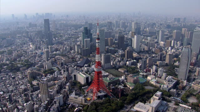 aerial tokyo skyline built structures observation tower minato - tokyo tower stock videos and b-roll footage