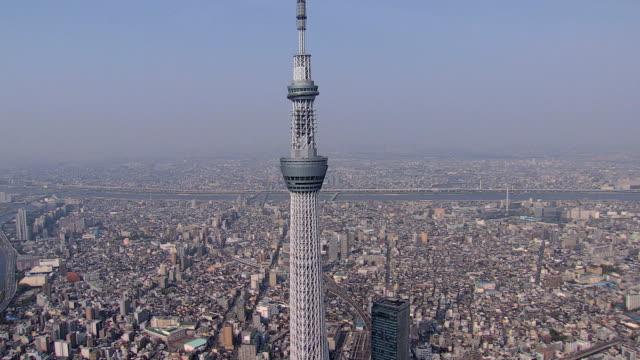 aerial tokyo skytree observation tower skyline sumida japan - スカイツリー点の映像素材/bロール