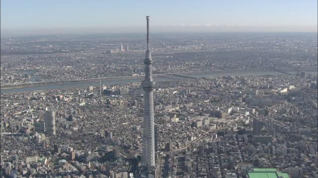 aerial tokyo skytree - スカイツリー点の映像素材/bロール