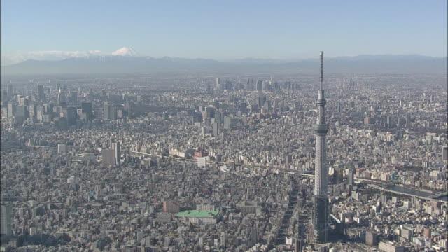 aerial tokyo skytree - avlägsen bildbanksvideor och videomaterial från bakom kulisserna
