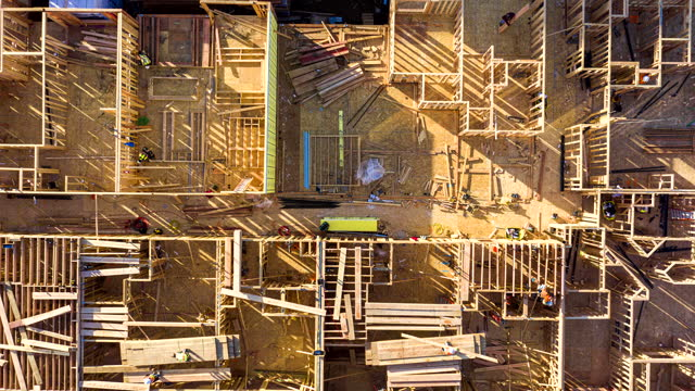 aerial top down hyperlapse of construction - hyper lapse stock videos & royalty-free footage