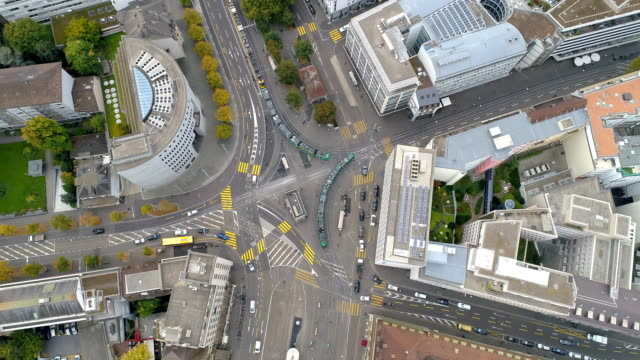 vídeos de stock e filmes b-roll de aerial top down view of basel street junction in switzerland - switzerland
